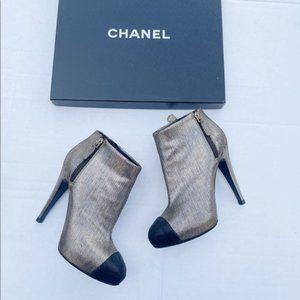 Chanel Metallic CC Cap Toe Ankle Bootie Platform Metallic